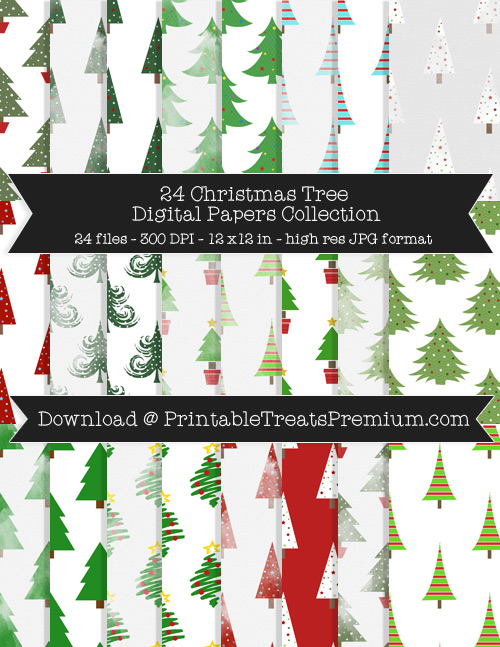 Christmas Tree Digital Paper Pack for Scrapbooking, Invitations, Wrapping Paper, Parties