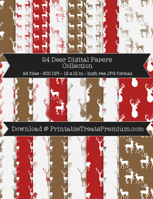 Deer Digital Paper Pack for Scrapbooking, Invitations, Wrapping Paper, Parties