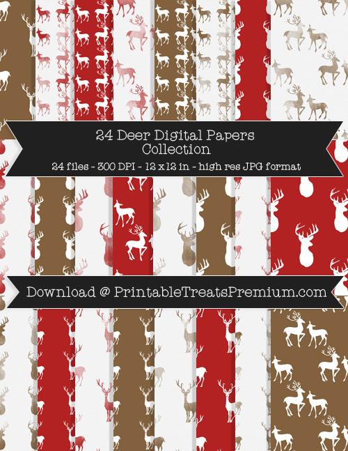 24 Deer Digital Papers Collection