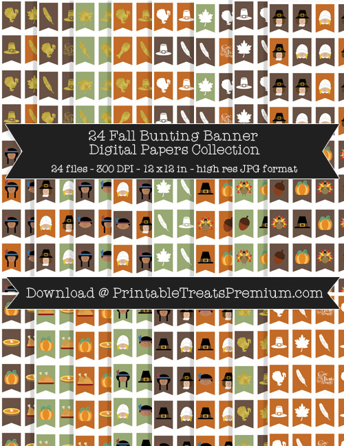Fall Bunting Banner Digital Paper Pack for Scrapbooking, Invitations, Wrapping Paper, Parties, Thanksgiving