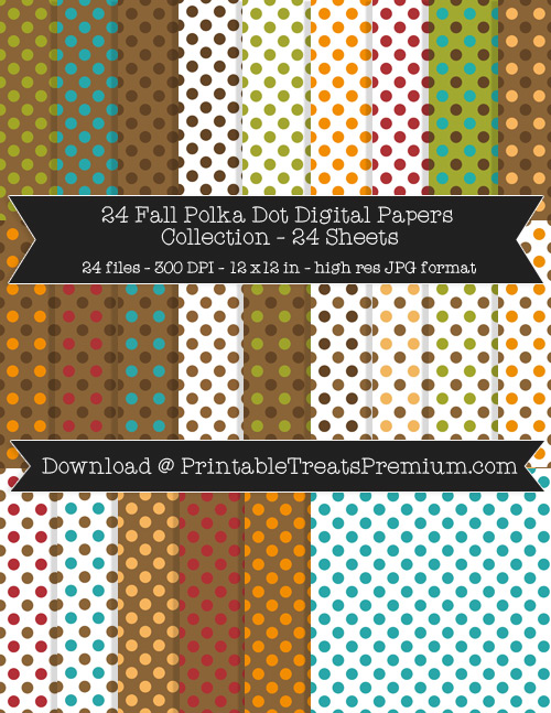 24 Fall Polka Dot Digital Papers Collection