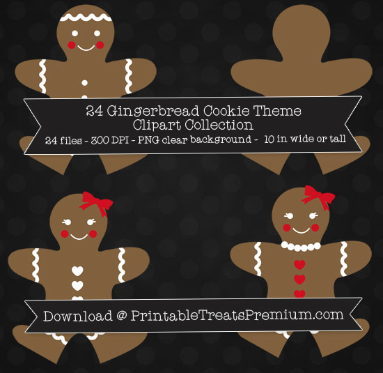 24 Gingerbread Cookie Theme Clipart Collection