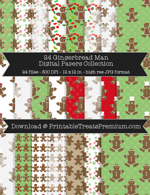 24 Gingerbread Man Digital Papers Collection