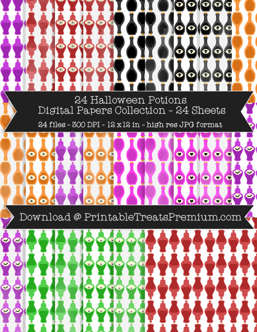 Halloween Potions Digital Paper Pack for Scrapbooking, Invitations, Wrapping Paper, Parties, Halloween