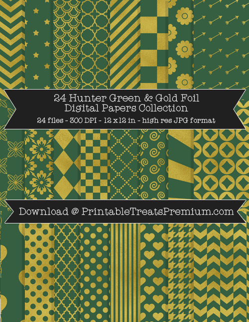Hunter Green and Gold Foil Digital Paper Pack for Scrapbooking, Invitations, Wrapping Paper, Parties