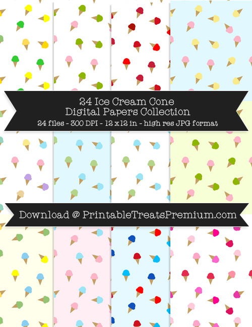 24 Ice Cream Cone Digital Papers Collection