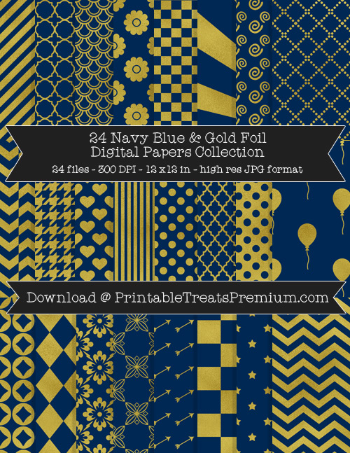 24 Navy Blue and Gold Foil Digital Papers Collection