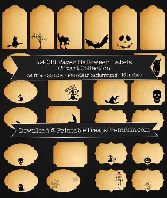 Old Paper Halloween Label Clipart Pack