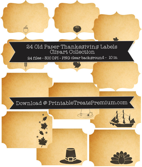 24 Old Paper Thanksgiving Labels Clipart Collection