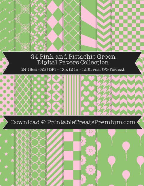 24 Pink and Pistachio Green Digital Papers Collection