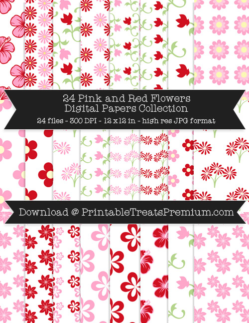 24 Pink and Red Flowers Digital Papers Collection