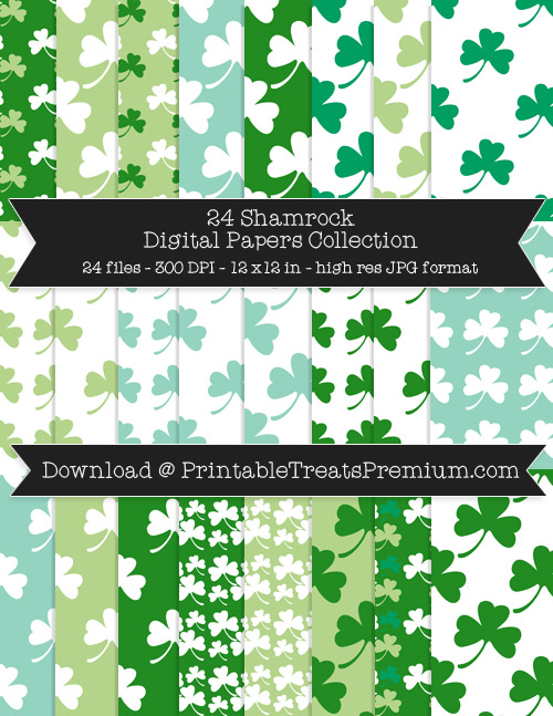 24 Shamrock Digital Papers Collection