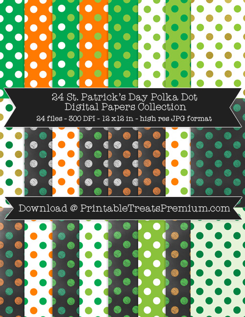24 St. Patrick's Day Polka Dot Digital Papers Collection