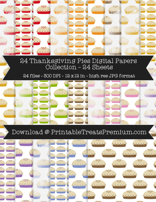Thanksgiving Pies Digital Paper Pack for Scrapbooking, Invitations, Wrapping Paper, Parties, Fall, Autumn