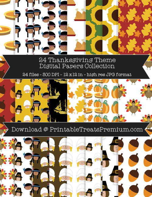 24 Thanksgiving Theme Digital Papers Collection