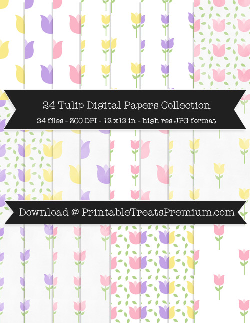 Tulip Digital Paper Pack for Scrapbooking, Invitations, Wrapping Paper, Parties, Spring, Mother's Day