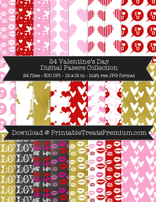 Valentine's Day Digital Paper Pack for Scrapbooking, Invitations, Wrapping Paper, Parties