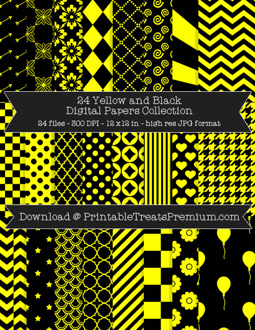 24 Yellow and Black Digital Papers Collection