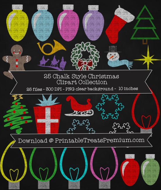 25 Chalk Style Christmas Clipart Collection