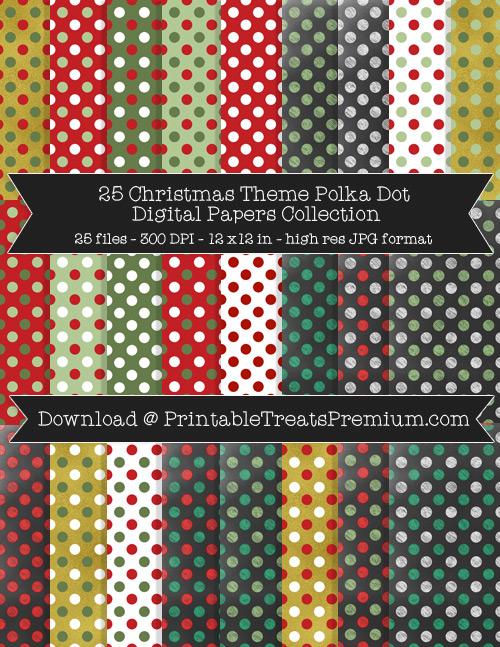 25 Christmas Theme Polka Dot Digital Papers Collection