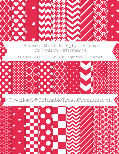 26 Amaranth Pink Digital Papers Collection