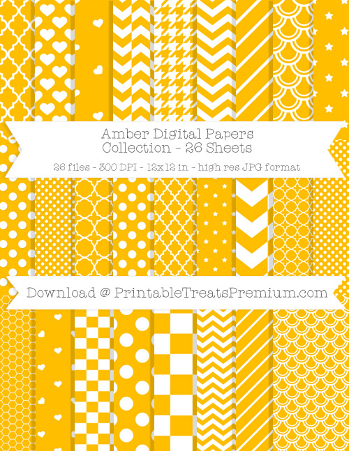 26 Amber Digital Papers Collection