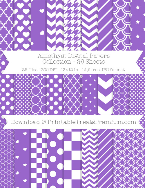 26 Amethyst Digital Papers Collection