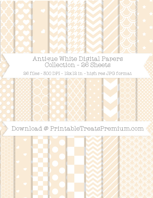 26 Antique White Digital Papers Collection