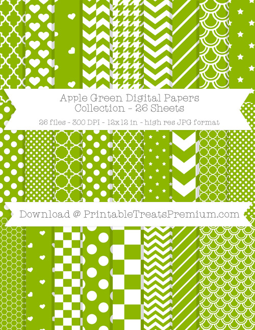 26 Apple Green Digital Papers Collection