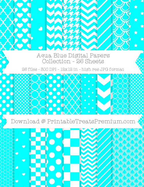 26 Aqua Blue Digital Papers Collection
