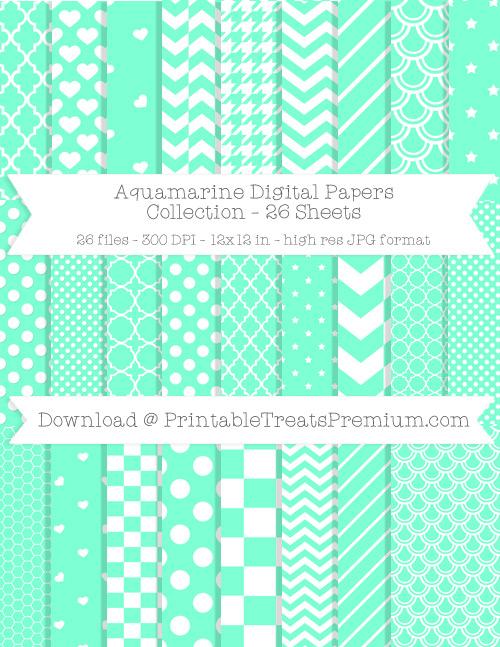 26 Aquamarine Digital Papers Collection