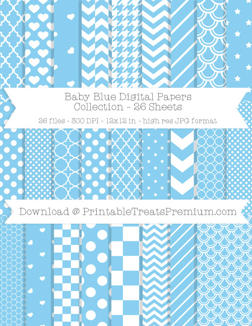 26 Baby Blue Digital Papers Collection
