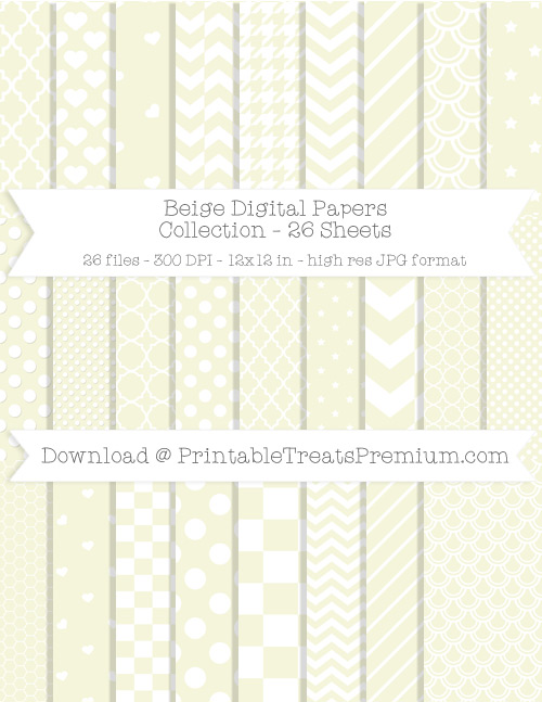 26 Beige Digital Papers Collection
