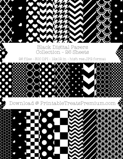 26 Black Digital Papers Collection