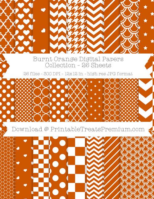 26 Burnt Orange Digital Papers Collection