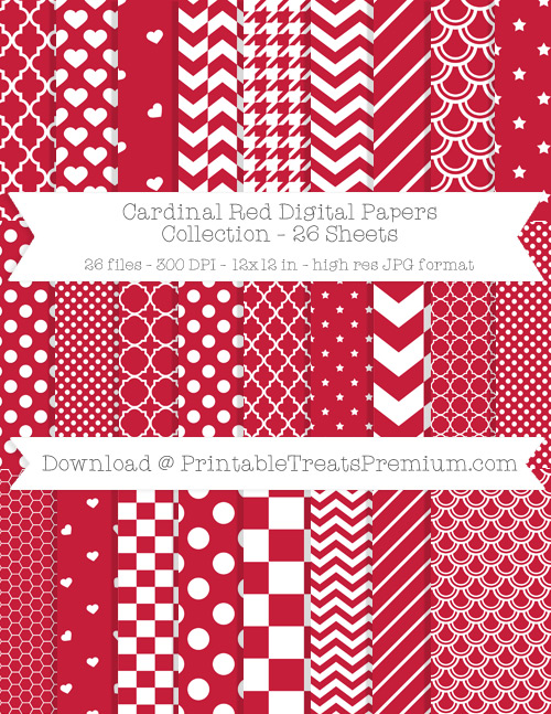 26 Cardinal Red Digital Papers Collection