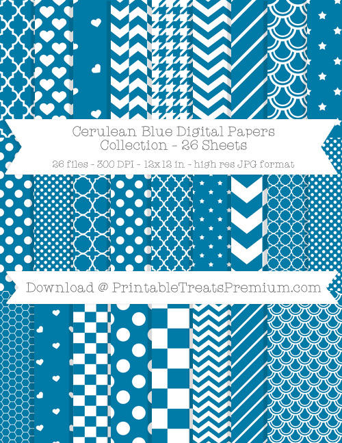 26 Cerulean Blue Digital Papers Collection