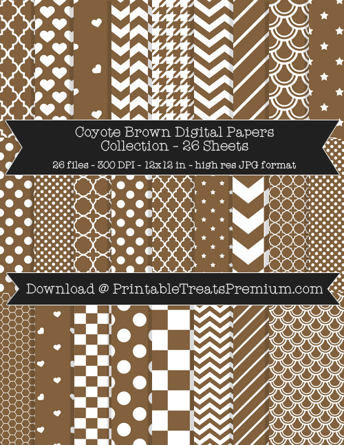26 Coyote Brown Digital Papers Collection