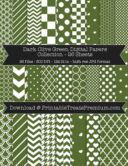 26 Dark Olive Green Digital Papers Collection