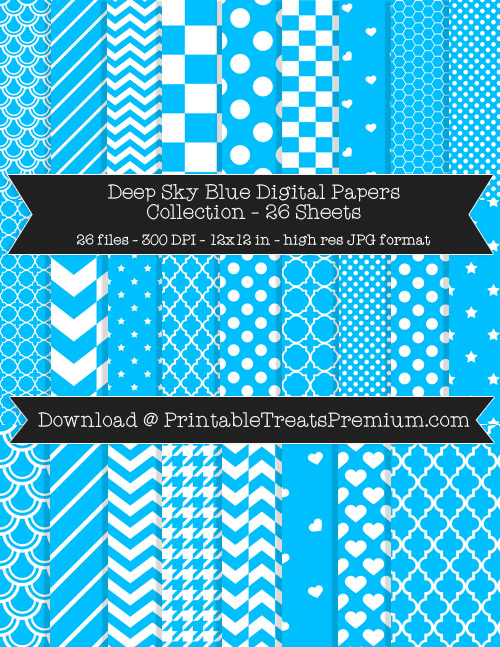 26 Deep Sky Blue Digital Papers Collection