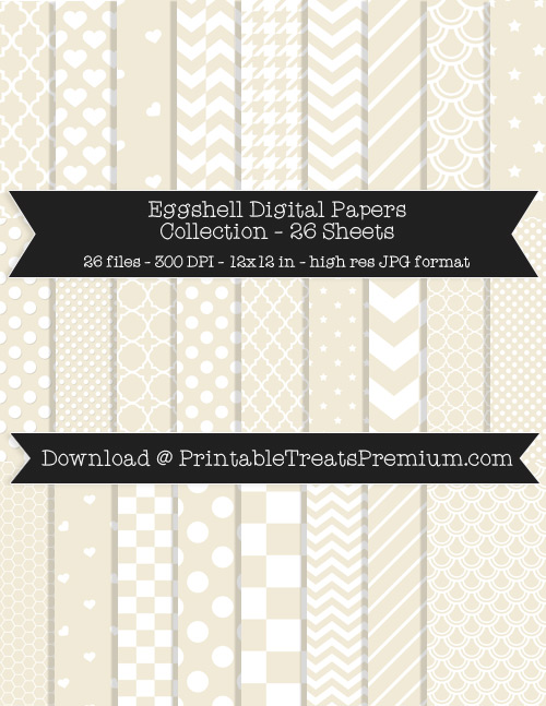 26 Eggshell Digital Papers Collection
