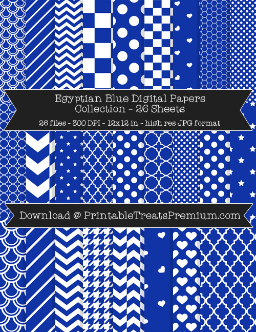 26 Egyptian Blue Digital Papers Collection