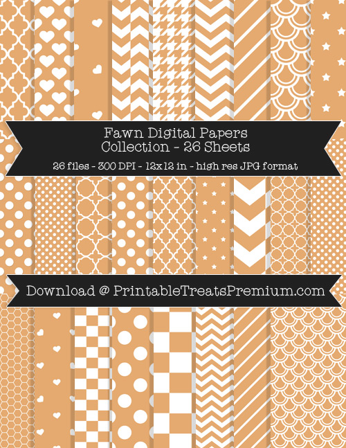 26 Fawn Digital Papers Collection