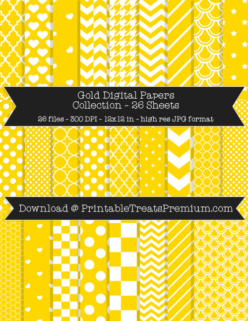 26 Gold Digital Papers Collection
