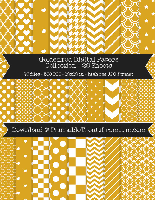 26 Goldenrod Digital Papers Collection