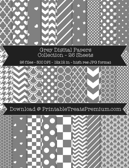 26 Grey Digital Papers Collection