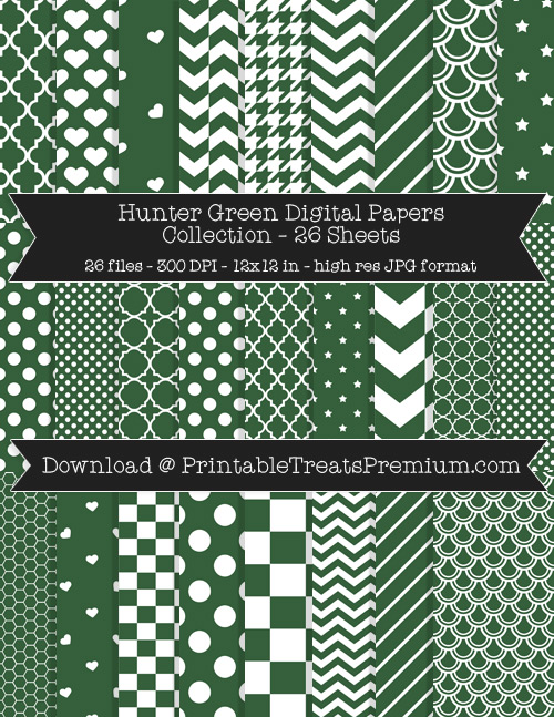 26 Hunter Green Digital Papers Collection