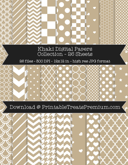 26 Khaki Digital Papers Collection
