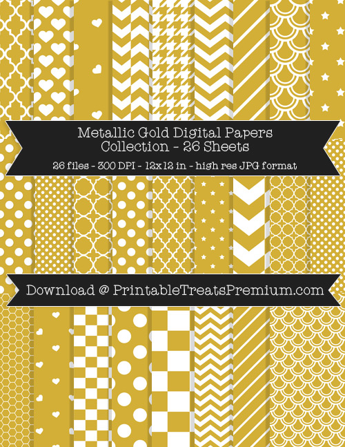 26 Metallic Gold Digital Papers Collection