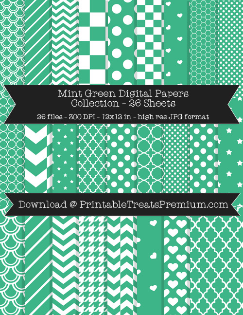 26 Mint Green Digital Papers Collection